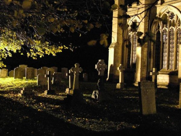 Fotheringay church at night, from GSUK fieldtrip.