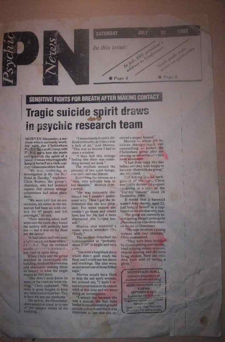 Psychic News article on the incident