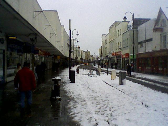 Cheltenham High Street in the snow