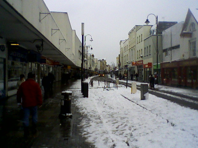 Cheltenham High Street in the snow