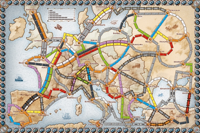 Ticket to Ride Europe: the game board