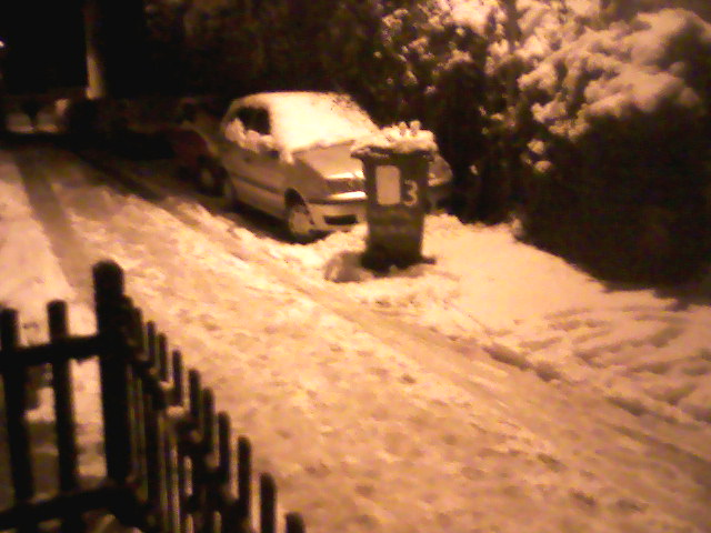 Normal Terrace at night, with snow