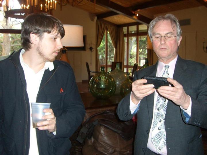 Josh Timonen and Richard Dawkins, photo by Elze Hamilton (click for link)