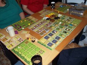 A three player game of agricola