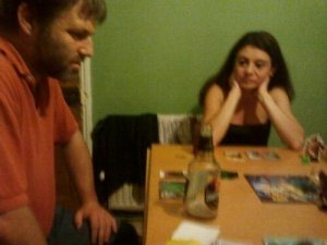Hugh and Barby playing King of Tokyo